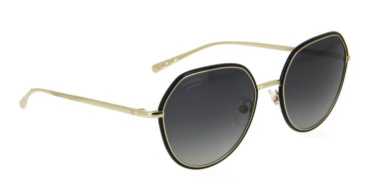 Lunettes de soleil Chanel 4551 j c395 s8 noir métal dore